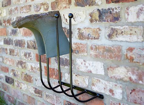 wall mounted metal wellington boot rack holder uk garden
