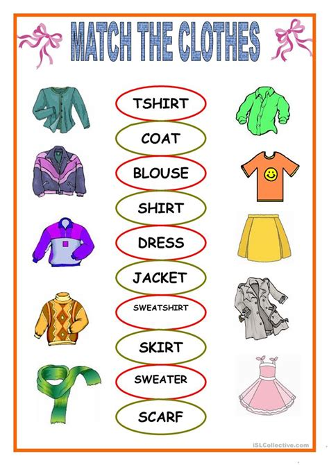 clothes matching worksheet  esl printable worksheets