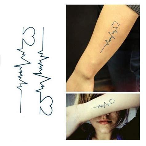 Tatouage Temporaire électrocardiogramme Coeur Bleu Fonçé