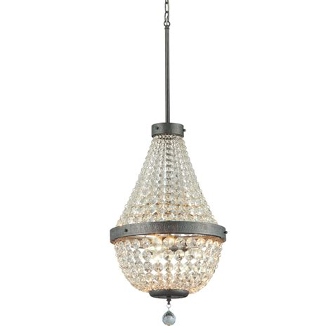 in chandelier shop portfolio breely 14 02 in 3 light antique silver crystal crystal empire chandelier at lowes com