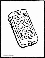 Phone Mobile Colouring Drawing Kiddicolour Receiver sketch template
