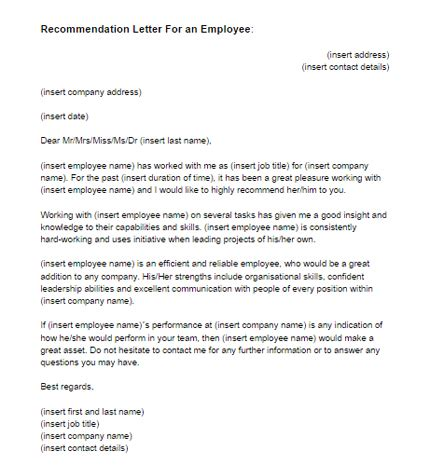 recommendation letter   employee sample  letter