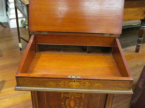 Antique English Marquetry Inlaid Rosewood Davenport Or