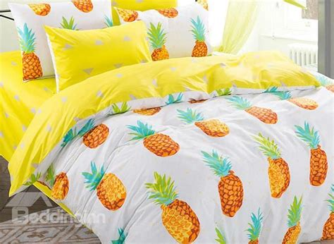 cotton lovely pineapple pattern kids duvet cover set