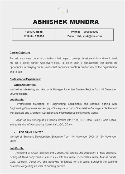 Resume format for Freshers Sample 56 Examples | Free Download Template Example