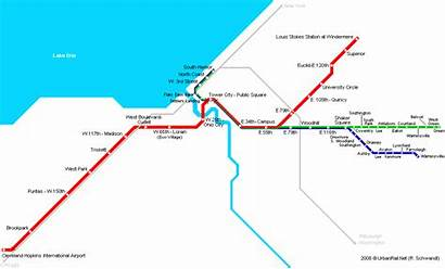 Cleveland Map Metro Subway System Usa Ohio