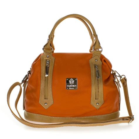 medichi italian  orange  beige leather convertible