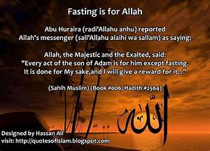 Islamic Quotes: Hadith:Fasting is for Allah