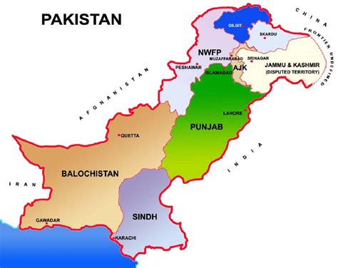 pakistan map showing provinces  capital cities