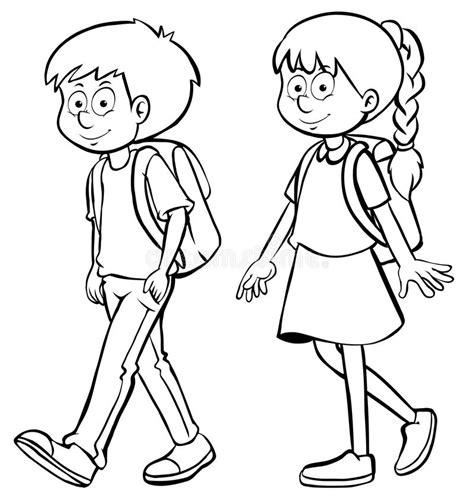 human outline  boy  girl stock illustration