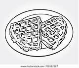 Waffle Coloring Colorear Drawn Wafer Slice Waffles Shutterstock Plate Dibujo Line sketch template