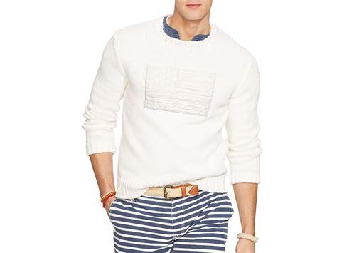Ralph Lauren Polo Tonal Flag Sweater In White For Men