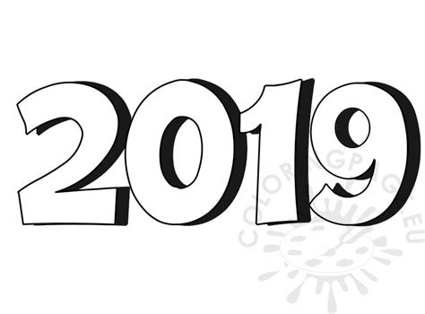 3d Number 2019 Coloring Page