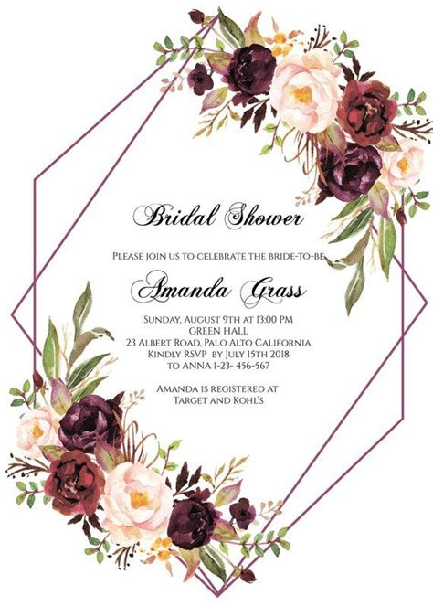 burgundy bridal shower invitation instant  floral