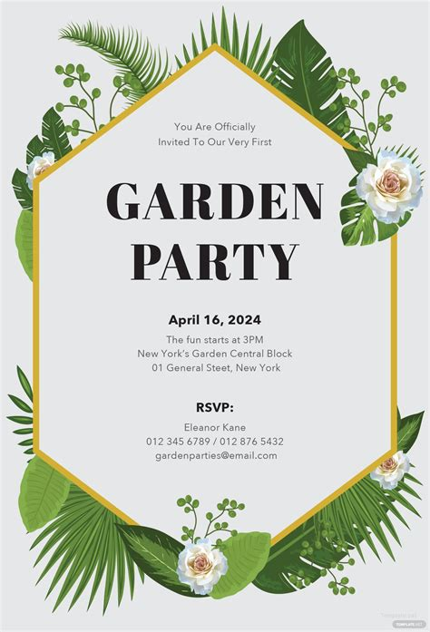 garden party invitation template  microsoft word
