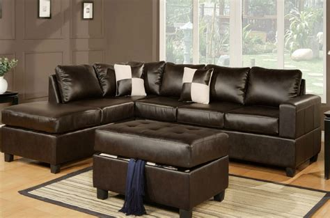 Poundex April F7351 Brown Leather Sectional Sofa And