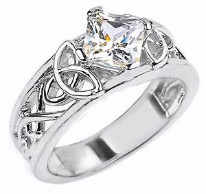 10k white gold celtic knot princess cut cz engagement ring With 10k white gold cz wedding ring sets
