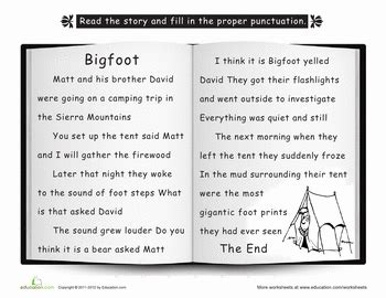 bigfoot punctuate  story earth day worksheets earth