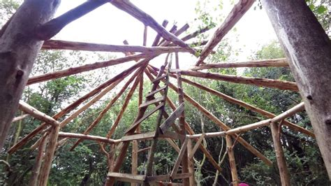 grid roundhouse build part reciprocal frame roof