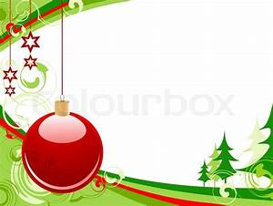 Christmas background with red ball, green firs and