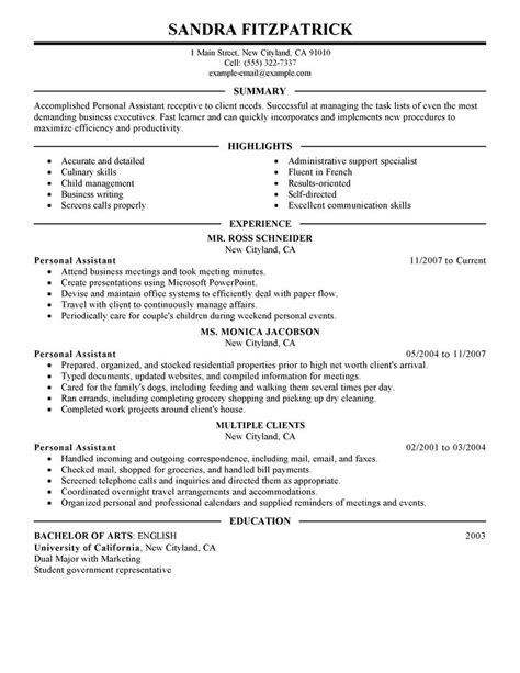 Pca Resume Summary by Personal Assistant Resume Exles Personal Care Services Resume Sles Livecareer