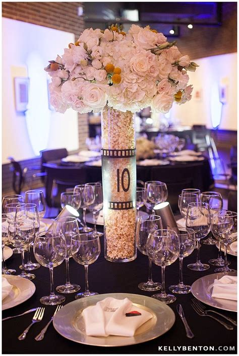 themed reception decor popcorn floral centerpieces