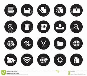 Stock Vector White Rounded Web And Office Icons On Black ...