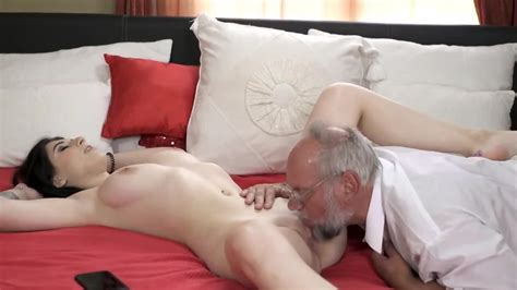 Grey Haired Old Man Has Wonderful Sex With Petite Brunette