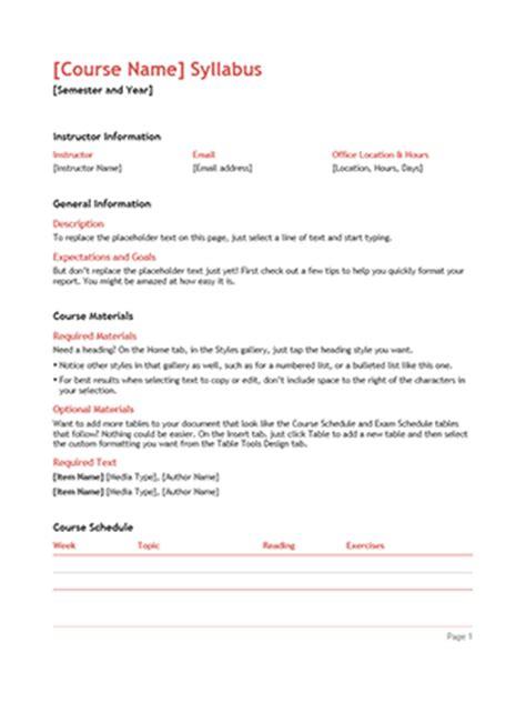syllabus template syllabus office templates