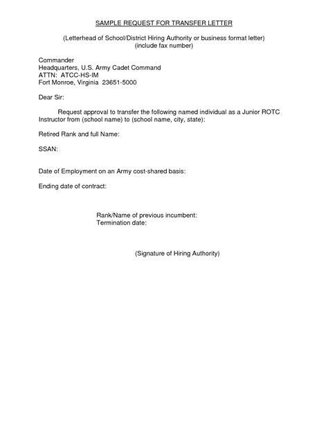transfer request letter    letter  email