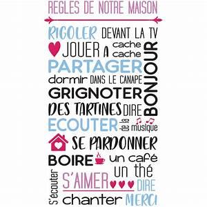 Regle De La Maison A Imprimer : stickers citation r gles de notre maison en couleur ~ Dode.kayakingforconservation.com Idées de Décoration