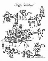 Coloring Mouse Feast Holiday sketch template