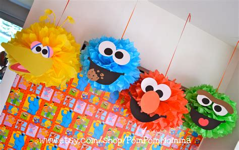pom pom decorations decorations sesame pom poms days how to throw a sesame themed