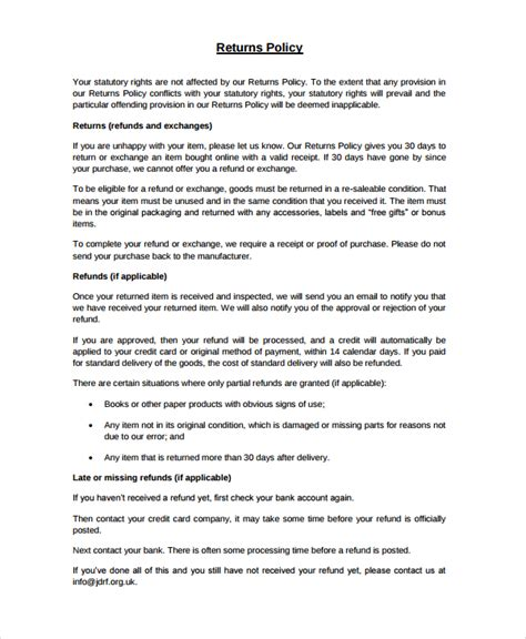 Standard Will Template Free return policy template 7 free word pdf document