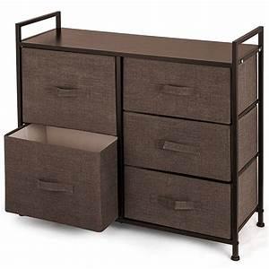 5, Drawer, Bamboo, Shelf, Dresser, Sliding, Cloth, Fabric, Storage, Bins, Chest, Drawers