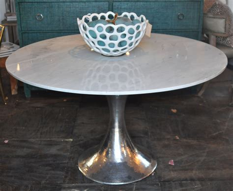 hammered metal table l base 52 stone top dining table with hammered metal base