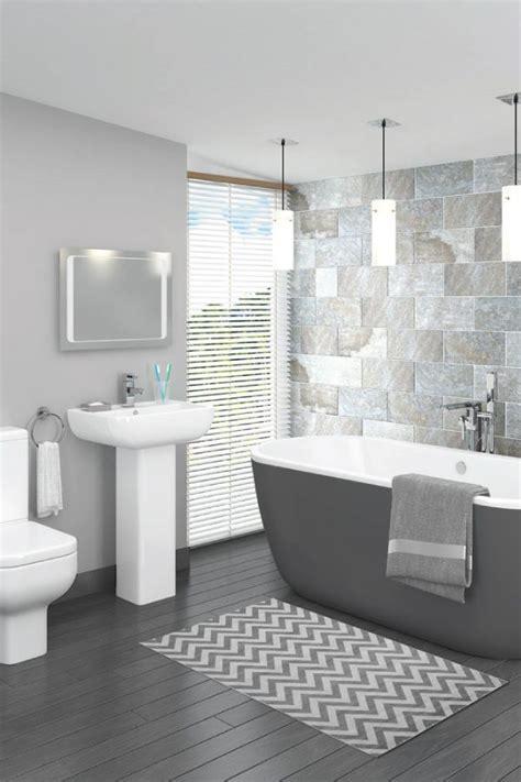 beautiful grey bathroom design  complemented