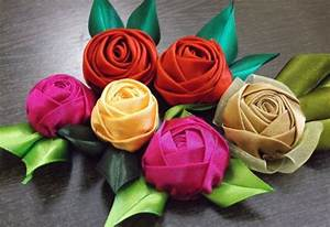 How to make Simple Quick Satin Ribbon Rose step by step ...