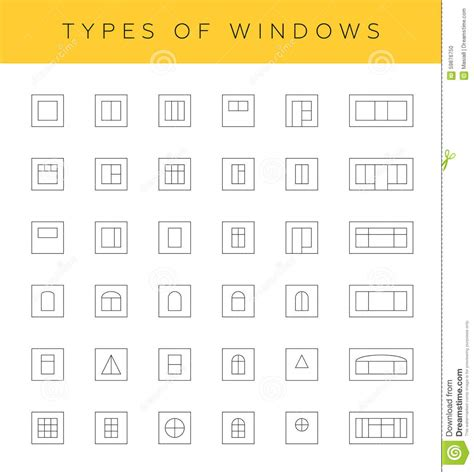 Different Types Of by Types Of Windows Stock Illustration Image 59876750
