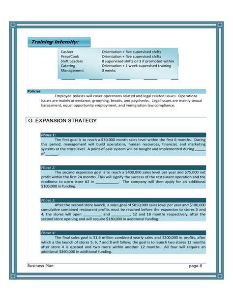blank restaurant business plan template