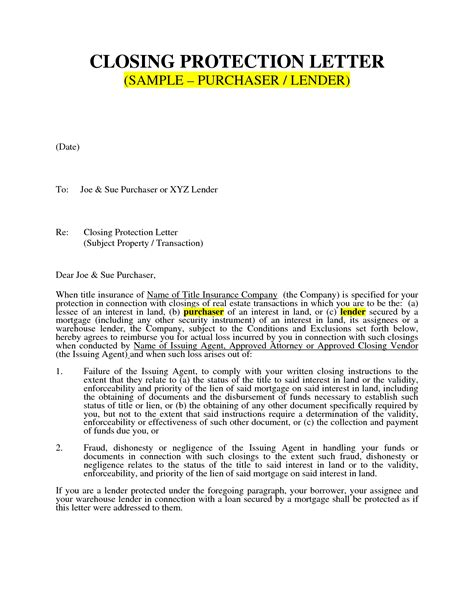 what is a closing protection letter closing protection letter how to format cover letter 31875