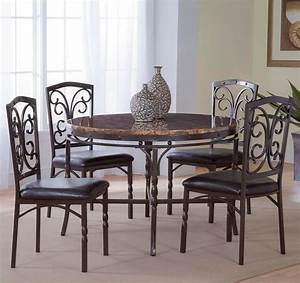 Bernards Tuscan 5 Piece MetalFaux Marble Dinette Table