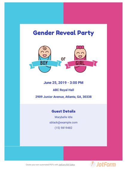 Gender Reveal Invitation TemplateTemplates JotForm
