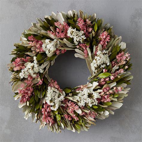 dried flower wreath  preserved larkspur terrain