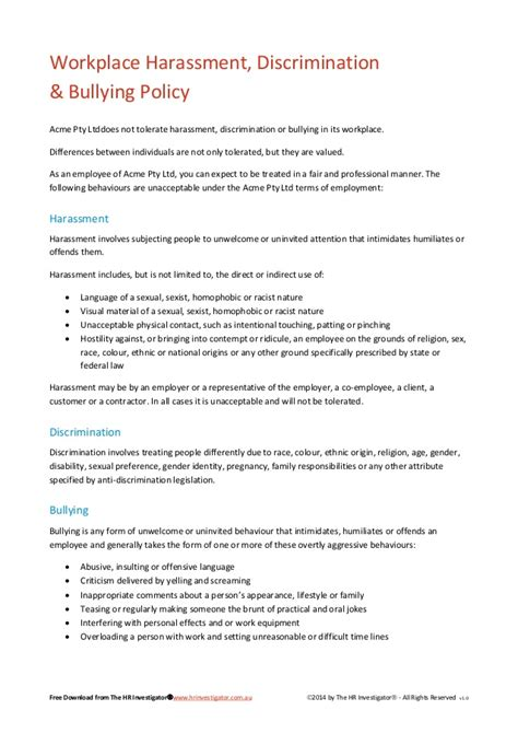 workplace harassment policy template workplace harassment discrimination bullying policy sle