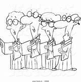 Choir Cartoon Seniors Coloring Vector Outlined Leishman Ron Royalty sketch template