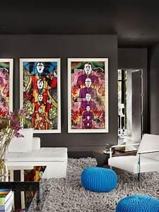 Vibrant, Pop, Art, Wows, In, Deep, Gray, Living, Room