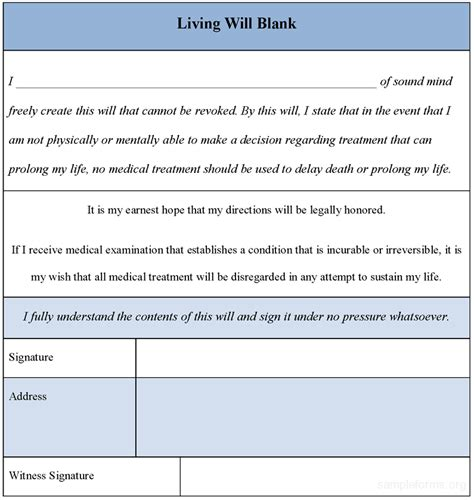 Downloadable Will Template by Living Will Blank Form Sle Forms