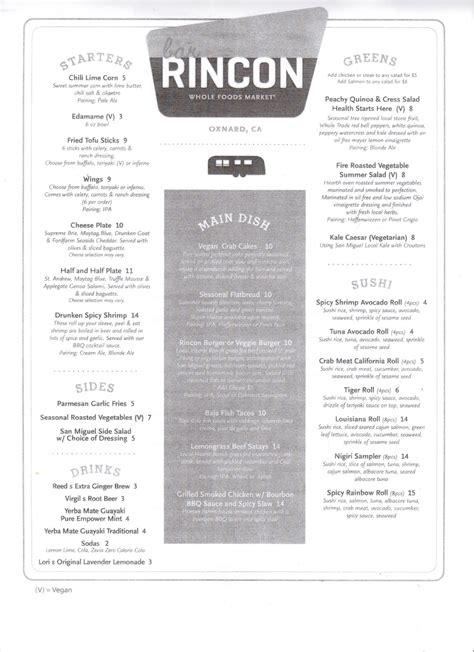 vc menu bar rincon  foods market oxnard