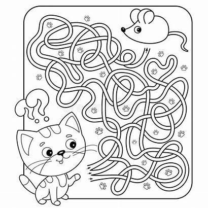 Cat Maze Mouse Coloring Cartoon Puzzle Labyrinth